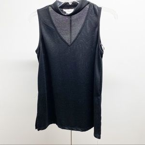 Cloud Chaser Mock Neck Cutout Sleeveless Top